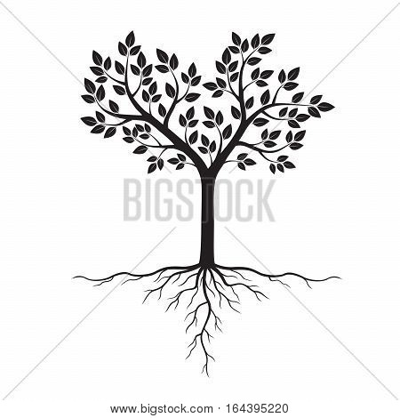 Black Tree and Roots. Vector Illustration and graphic element.