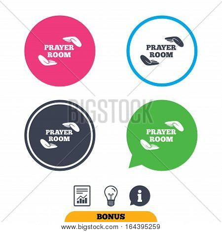 Prayer room sign icon. Religion priest faith symbol. Pray with hands. Report document, information sign and light bulb icons. Vector