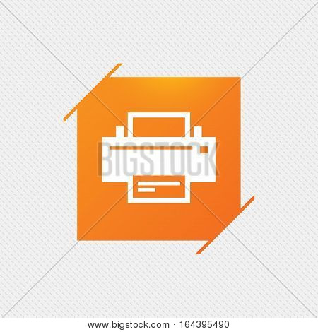 Print sign icon. Printing symbol. Print button. Orange square label on pattern. Vector