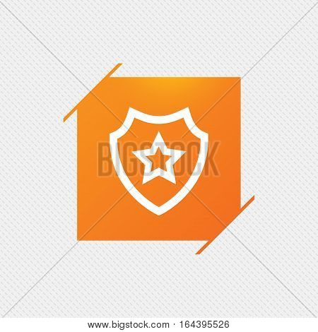 Shield with star icon. Favorite protection symbol. Orange square label on pattern. Vector