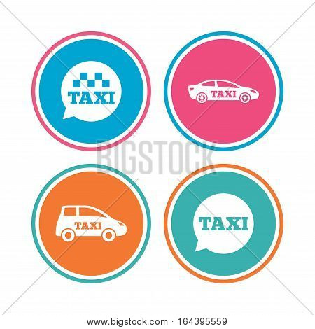 Public transport icons. Taxi speech bubble signs. Car transport symbol. Colored circle buttons. Vector