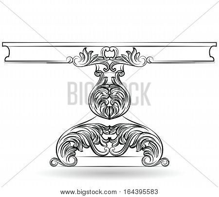 Rich Baroque Table. French Luxury rich carved ornaments decorated furniture. Vector Victorian Royal Style