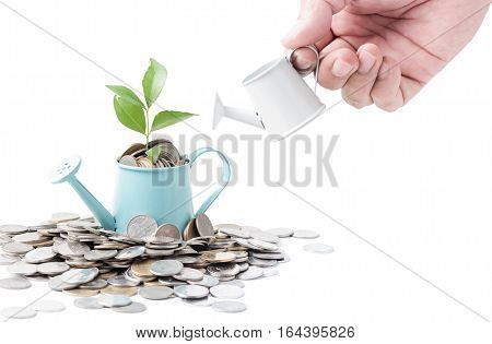 Businessman Watering A Tree Growing Out Of Silver Coins On Watering Pod