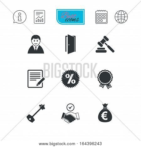 Real estate, auction icons. Home key, discount and door signs. Business agent, award medal symbols. Report document, calendar and information web icons. Vector