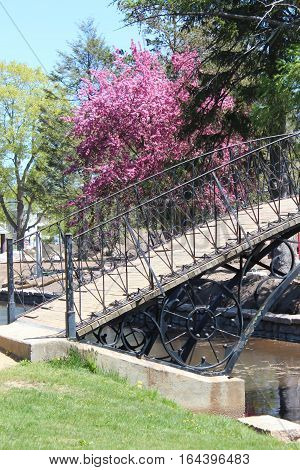 decorative wood and wrought iron bridge over a moat in vibrant spring