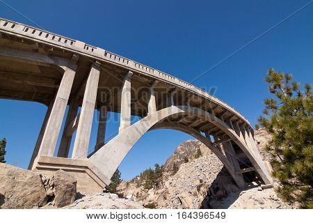 Historic Rainbow Bridge located on old Highway 40 in the Sierra's in California.