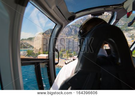 Nice, France - September 15, 2016:  Inside of the helicopter cabin on the way from Nice to Monaco