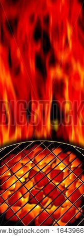 3d rendered illustration of BBQ and flames in the background. Shallow depth of field with focus on the grill. Glowing briquettes in the background.