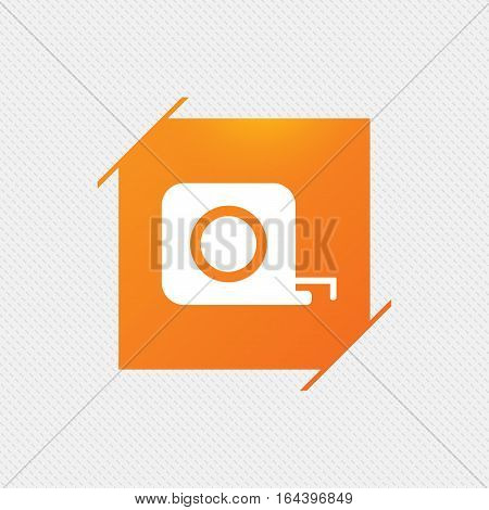 Roulette construction sign icon. Tape measure symbol. Orange square label on pattern. Vector