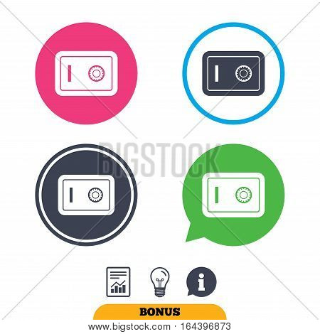 Safe sign icon. Deposit lock symbol. Protection for your documents in hotel. Report document, information sign and light bulb icons. Vector