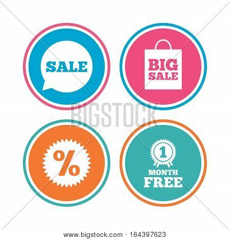 Sale speech bubble icon. Discount star symbol. Big sale shopping bag sign. First month free medal. Colored circle buttons. Vector