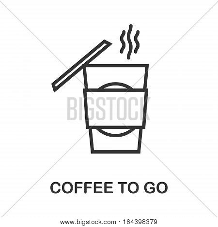 Coffee To Go icon or logo line art style. Vector Illustration.