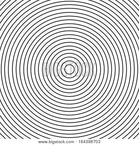 Concentric circle element or background. Black and white color ring. Vector illustration for sound wave. Abstract circle graphics. Hypnotic background.