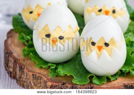 Little chicken in nest deviled eggs served with salad on wooden board horizontal