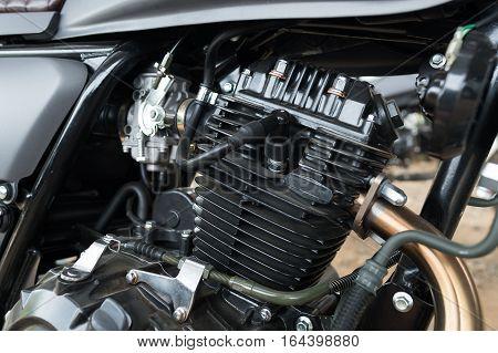 Close up vintage motorbike engine. Transportation concept.