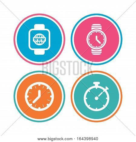 Smart watch with internet icons. Mechanical clock time, Stopwatch timer symbols. Wrist digital watch sign. Colored circle buttons. Vector