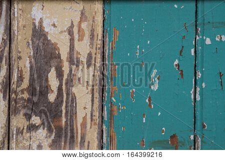 Painted Tan and Teal Wooden Background Horizontal