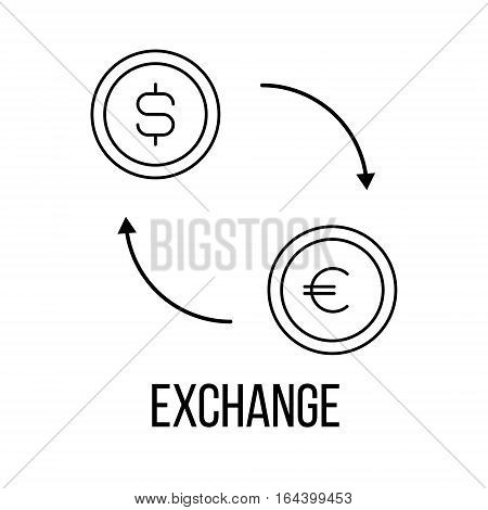 Exchange icon or logo line art style. Vector Illustration.
