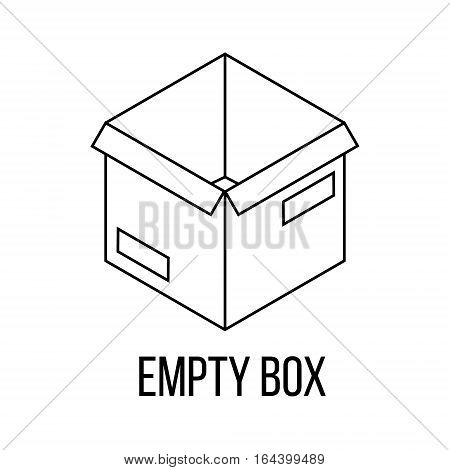 Empty box icon or logo line art style. Vector Illustration.