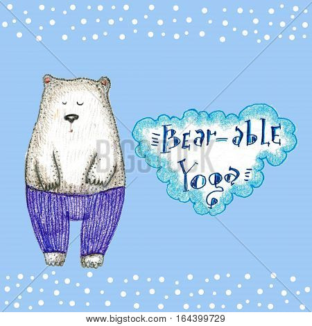 Raster colorful winter illustration with a white bear in shavasana, augmented with a word game and snowflakes. Image for kids' stuff, yoga and animal theme, pun and word games.
