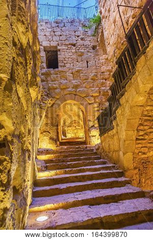 ALJUN, JORDAN - NOVEMBER 24, 2016 Qalat ar-Rabid Ancient Arabic Fortress Castle Ajlun Jordan. Ancient Arabic Castle built in 1184-1185 to counter Crusader threat.