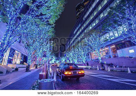 Roppongi Hills Keyakizaka Christmas Illumination in Tokyo , Japan .