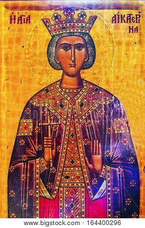MADABA, JORDAN - NOVEMBER 25, 2016 Queen Helena Golden Icon Saint George Greek Orthodox Church Madaba Jordan. Church was created in the late 1800s and houses many famous mosaics
