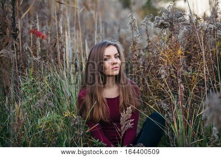 Portrait of pensive sad lonely Caucasian blonde young beautiful woman girl with long hair wearing jeans red shirt sitting in forest field among plants grass looking in camera autumn fall