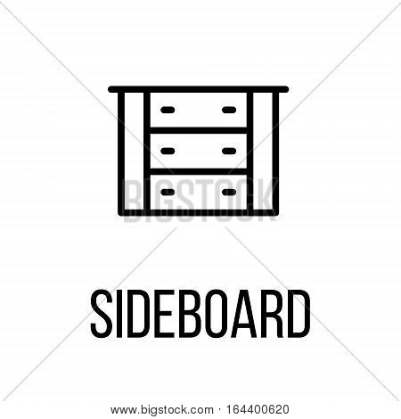 Sideboard icon or logo in modern line style. High quality black outline pictogram for web site design and mobile apps. Vector illustration on a white background.