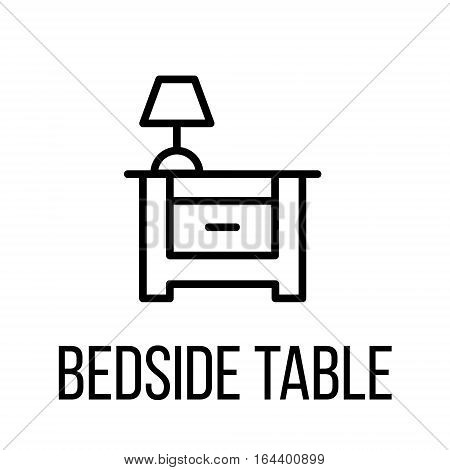 Bedside table icon or logo in modern line style. High quality black outline pictogram for web site design and mobile apps. Vector illustration on a white background.