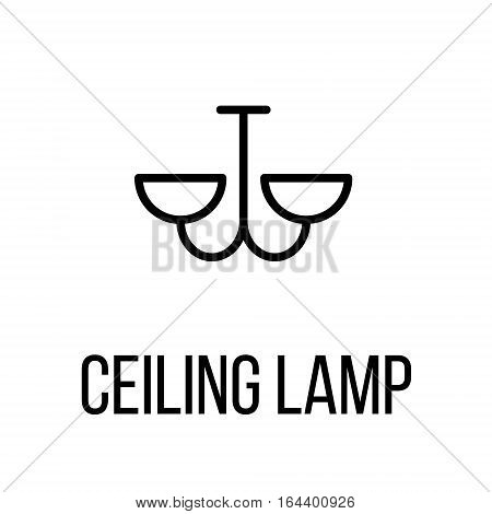 Ceiling lamp icon or logo in modern line style. High quality black outline pictogram for web site design and mobile apps. Vector illustration on a white background.