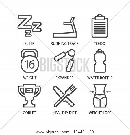 Line Art Fitness And Sport Icon Set - 1