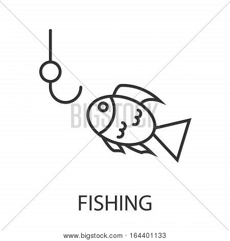 Fishing icon or logo line art style. Vector Illustration.