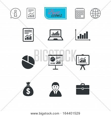 Statistics, accounting icons. Charts, presentation and pie chart signs. Analysis, report and business case symbols. Report document, calendar and information web icons. Vector