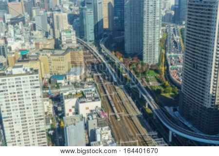 Blurred background. Dense buildings in Minato-ku Tokyo Japan