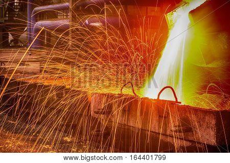 NOVOKUZNETSK, RUSSIA - MAY 25 2016 Casting ferroalloy factory