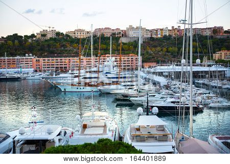Monaco, Monte Carlo - September 15, 2016:  Principality of Monaco. View of the seaport and the city of Monte Carlo with luxury yachts and sail boats
