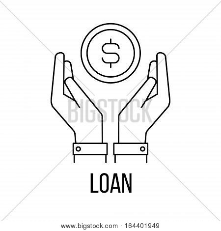 Loan icon or logo line art style. Vector Illustration.