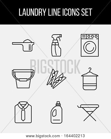 9 Laundry high quality line icons in modern style. Housework and cleaning elements for websites, brochures, UI and others. Vector illustration on a light background.