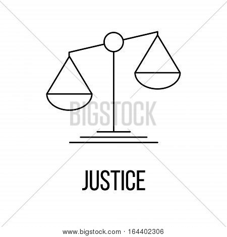 Justice icon or logo line art style. Vector Illustration.