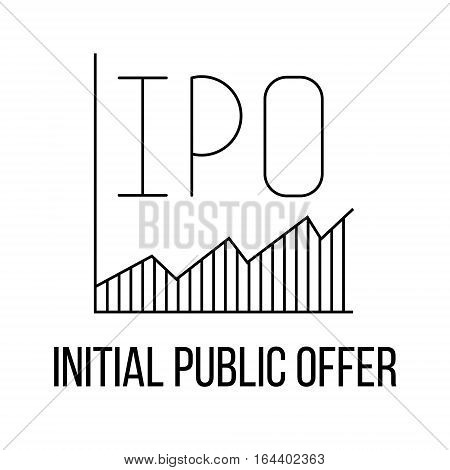 IPO icon or logo line art style. Vector Illustration.