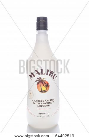 IRVINE CALIFORNIA - JANUARY 8 2017: Malibu Rum 1.75 ltr bottle. Malibu is a brand of rum flavored with coconut liqueur by the West Indies Rum Distillery Barbados.
