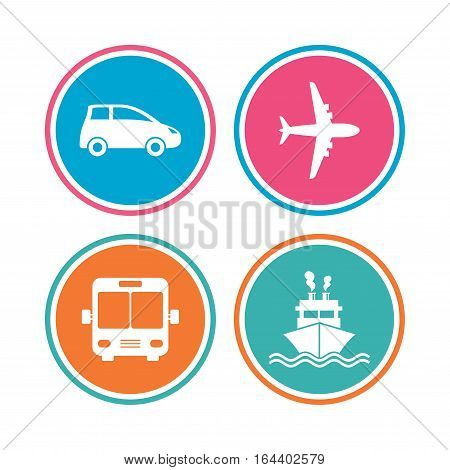Transport icons. Car, Airplane, Public bus and Ship signs. Shipping delivery symbol. Air mail delivery sign. Colored circle buttons. Vector