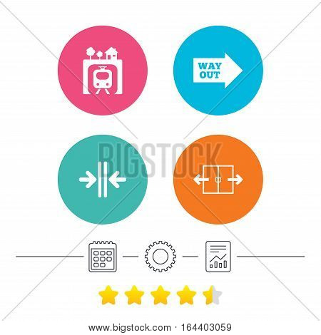 Underground metro train icon. Automatic door symbol. Way out arrow sign. Calendar, cogwheel and report linear icons. Star vote ranking. Vector