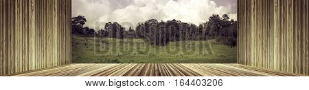 Wooden Wall And Floor Empty With Fresh Green Forest Against Sky And Cloudy.