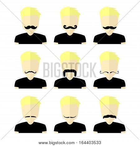 Huge set of black hipster vector mustaches with man. Collection of men`s retro mustache. Hairstyles for barber, avatars, cards and other pictures.