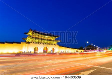 Gyeongbokgung Gate Street Twilight Trailing Lights