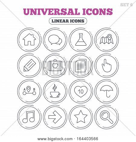 Universal icons. House building, speech bubbles and first aid box. Copy documents, like counter and hot coffee drink. Map pointer, arrow and favorite star. Circle flat buttons with linear icons