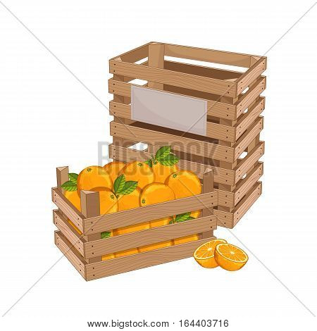 Wooden box full of orange isolated on white background vector illustration. Fresh fruit, organic farming, vegan food, delivery farm product, grocery store. Yellow ripe orange in wooden crate icon.