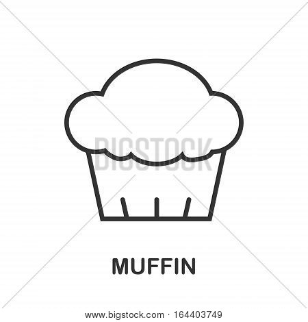 Muffin icon or logo line art style. Vector Illustration.